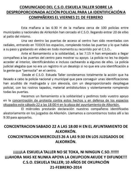 COMUNICADO 21FEB14 DESPROPORCIONADA ACCION POLICIAL